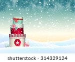 Christmas Background With Stack ...