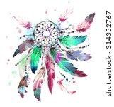 dreamcatcher watercolor | Shutterstock . vector #314352767