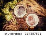 assorted beers in a flight... | Shutterstock . vector #314357531