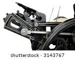 side view detail of 1901 printing press - stock photo