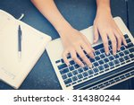 woman working on laptop and... | Shutterstock . vector #314380244