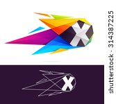 x letter logo with polygonal...