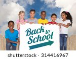 elementary pupils showing card... | Shutterstock . vector #314416967