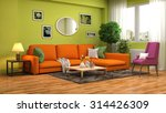 Interior With Sofa. 3d...