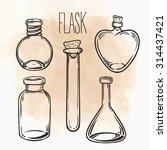 vector set of glass flasks....   Shutterstock .eps vector #314437421