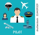 Постер, плакат: Pilot profession flat icons