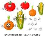 happy cartoon onion  tomato and ...