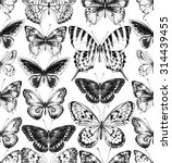 Stock vector seamless pattern of black silhouettes of butterflies on white background hand drawn illustration 314439455