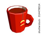 red cup with tea bag isolated... | Shutterstock .eps vector #314478014
