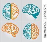 left   right human brain...   Shutterstock .eps vector #314487971