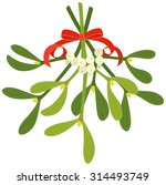 mistletoe with red bow and...