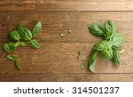 green fresh basil on wooden... | Shutterstock . vector #314501237