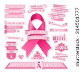 a set of pink breast cancer... | Shutterstock .eps vector #314501777