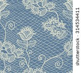 blue seamless floral lace... | Shutterstock .eps vector #314534411