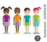 flat kids with prosthetic arms  | Shutterstock .eps vector #314543159