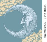 Crescent Moon Face Vintage...