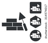 bricklayer icons set. simple...