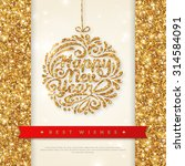 shiny gold greeting card with... | Shutterstock .eps vector #314584091
