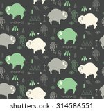 seamless pattern with cute baby ... | Shutterstock .eps vector #314586551