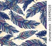 vintage feather seamless... | Shutterstock .eps vector #314590235