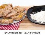 flour for frying soy steaks. | Shutterstock . vector #314599505