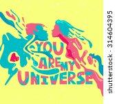 romantic psychedelic poster.... | Shutterstock .eps vector #314604395