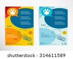 Stock vector paw symbol on abstract vector modern flyer brochure vector template 314611589