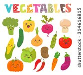 cute kawaii smiling vegetables. ... | Shutterstock .eps vector #314616815