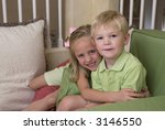 young blond brother and sister...   Shutterstock . vector #3146550