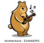 a brown bear playing guitar. | Shutterstock .eps vector #314668391