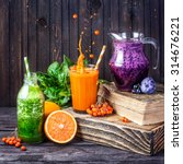 fresh juice and smoothies with... | Shutterstock . vector #314676221