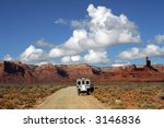 rv van on road in valley of... | Shutterstock . vector #3146836