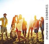 diverse beach summer friends... | Shutterstock . vector #314684411