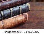 Closeup Of Few Ancient Books O...
