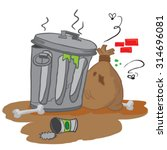 garbage cartoon illustration | Shutterstock .eps vector #314696081