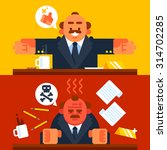 happy and angry boss. vector...   Shutterstock .eps vector #314702285