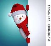 Festive Snowman Holding Blank...