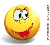 silly face on yellow badge... | Shutterstock .eps vector #314721365