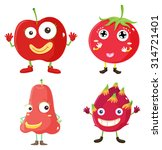 fresh fruits in red illustration | Shutterstock .eps vector #314721401
