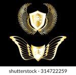 golden badge with wings   Shutterstock .eps vector #314722259