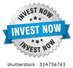 invest now 3d silver badge with ... | Shutterstock .eps vector #314736761