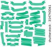 vector green ribbons set | Shutterstock .eps vector #314743061