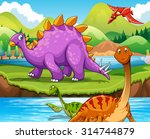 dinosaurs living by the river... | Shutterstock .eps vector #314744879