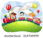 children riding on train at... | Shutterstock .eps vector #314744999
