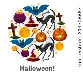 happy halloween greeting card... | Shutterstock .eps vector #314756687