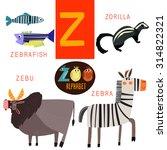 Cute Zoo Alphabet In Vector.z...