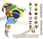 south america map with flags ... | Shutterstock .eps vector #314827814