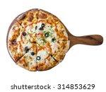 homemade spice shrimp pizza in... | Shutterstock . vector #314853629