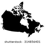 silhouette map of canada  north ... | Shutterstock .eps vector #314856401