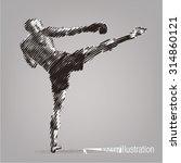 kick boxer. vector artwork in...   Shutterstock .eps vector #314860121